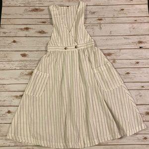 Free People White Linen Striped Wrap Dress Medium